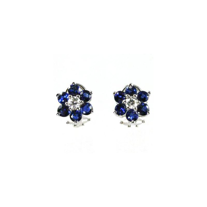 Signature Collection 18k White Gold Genuine Blue Sapphire and Diamond Earrings - #27656