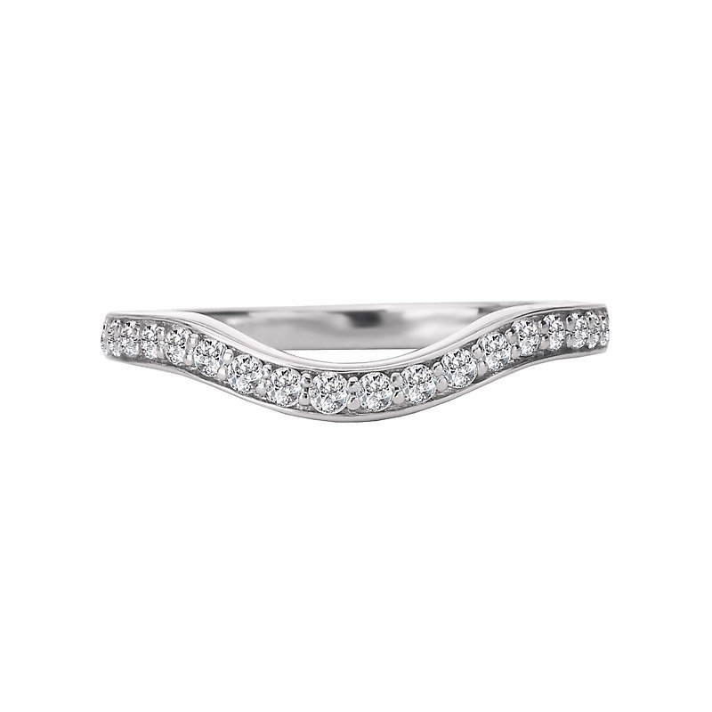 Signature Collection 14k White Gold Curved Diamond Wedding Band