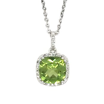 14k White Gold Cushion Halo Peridot Pendant