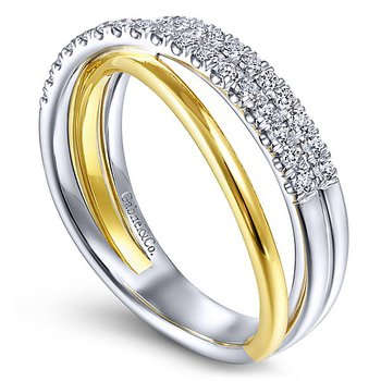 Ladies 14k White and Yellow Gold Criss Cross Diamond Band by Gabriel NY - Style #LR51507