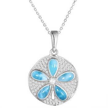 Sterling Silver Sanddollar Pendant by Alamea with Larimar