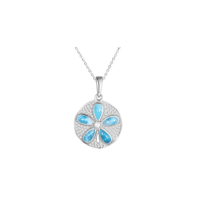 Sealife Jewelry Sterling Silver Sanddollar Pendant by Alamea with Larimar