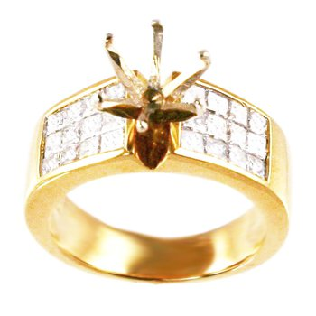 18k Yellow Gold Invisibly Set Princess Cut Diamond Mounting - #21863