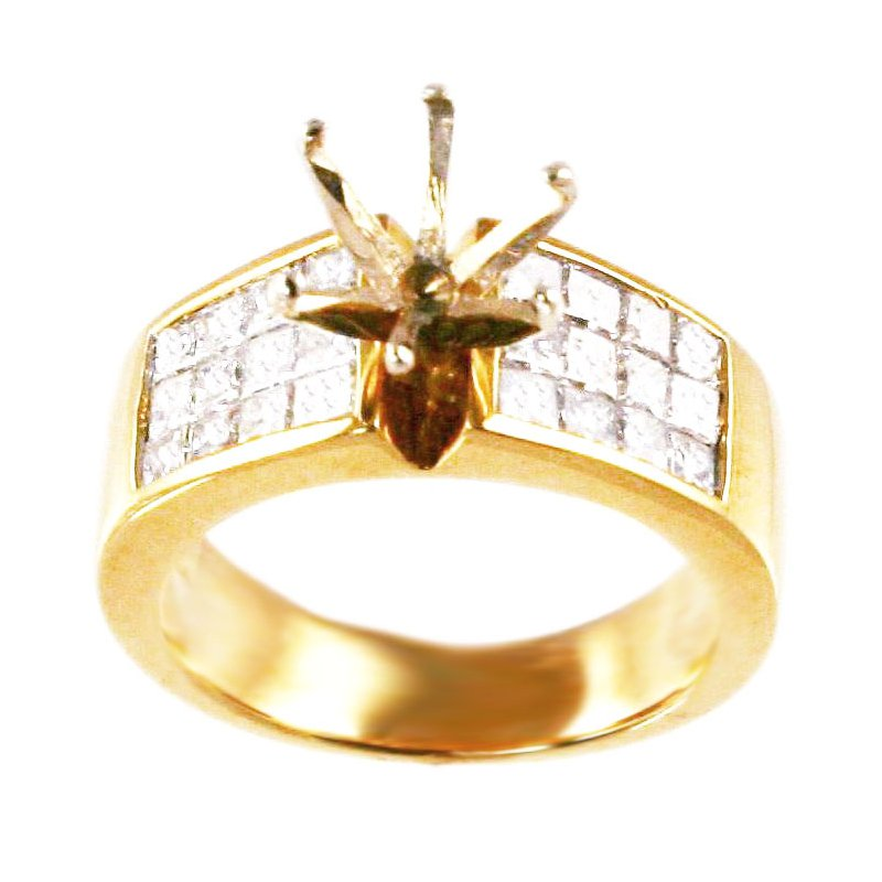 Signature Collection 18k Yellow Gold Invisibly Set Princess Cut Diamond Mounting - #21863