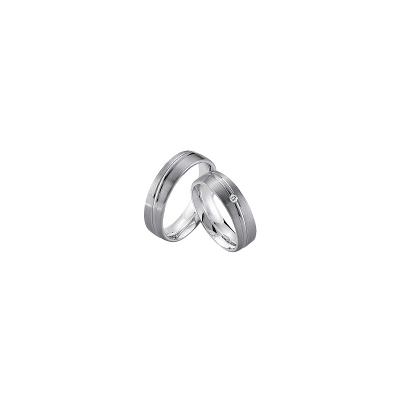 Samuel Jewels Palladium and Silver 6mm Wedding Band
