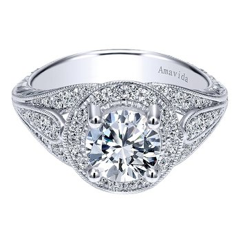 Platinum Round Halo Engagement Ring from the Amavida Collection by Gabriel NY
