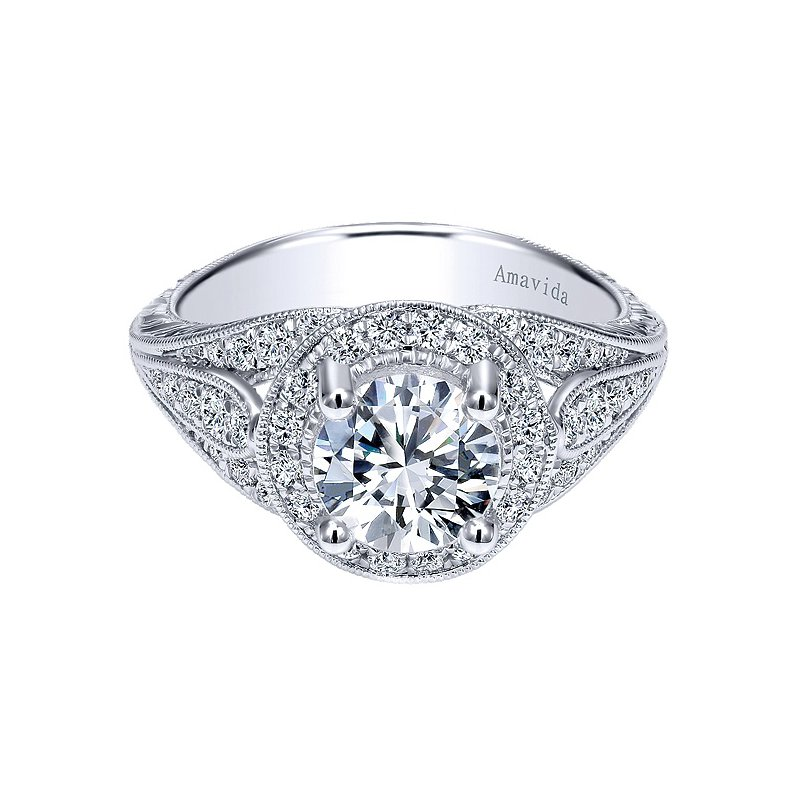 Gabriel NY Platinum Round Halo Engagement Ring from the Amavida Collection by Gabriel NY