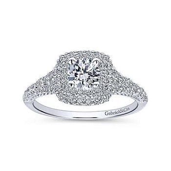14k White Gold Double Cushion Halo Engagement Ring by Gabriel NY