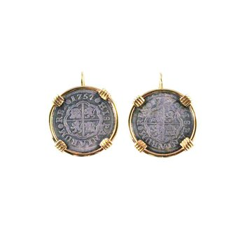 Genuine Spanish 1 Real Silver Cross Coins framed in 14k Yellow Gold