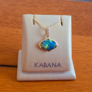 14k Yellow Gold Pendant by Kabana with Solid Australian Opal Inlay and Diamond