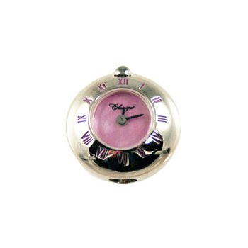 Sterling Silver Bead Watch with Pink Enamel Roman Numerals and Pink Mother of Pearl