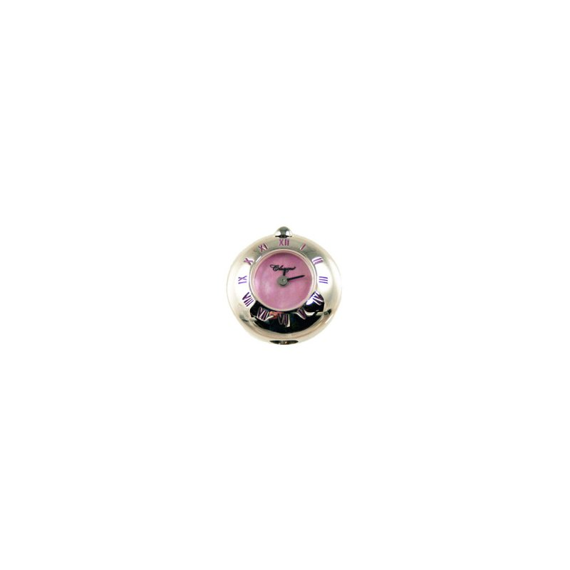Swiss Watches Sterling Silver Bead Watch with Pink Enamel Roman Numerals and Pink Mother of Pearl