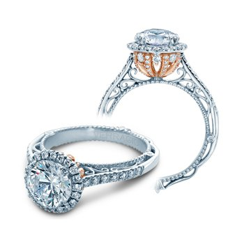 Verragio Venetian 5060R-PLT - TT - Platinum and Rose Gold Round Halo Diamond Engagement Ring by Verragio