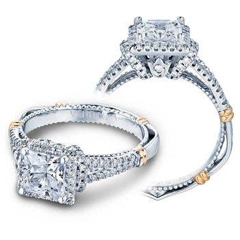 Verragio Parisian D-117P - 14k White and Rose Gold Diamond Halo Engagement Ring by Verragio