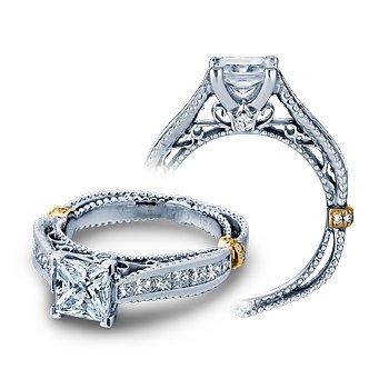 Verragio Venetian 5037P - 14k White Gold Princess Cut Diamond Engagement Ring by Verragio