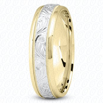 Unique Settings M344 - Y - W - 14k Yellow and White Gold Fancy Carved Hand Engraved 7mm Men's Wedding Band