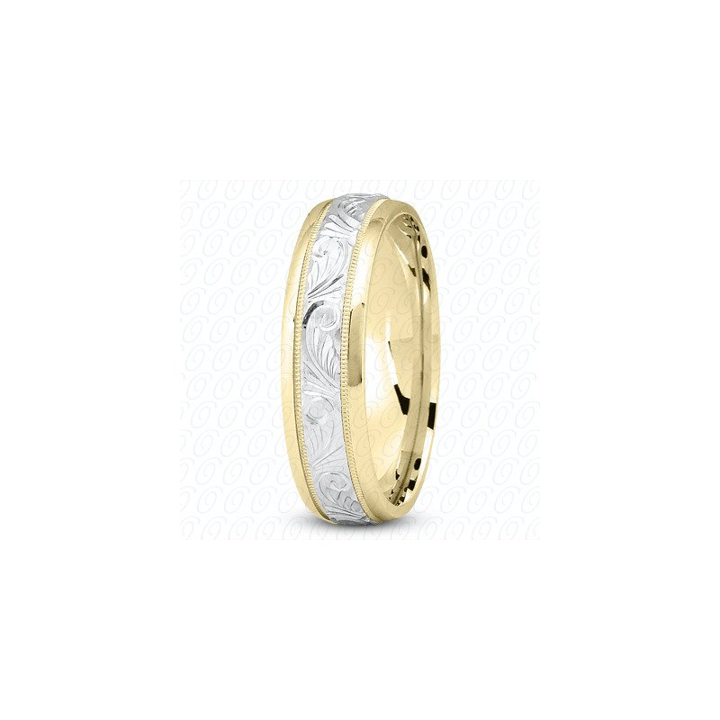 Unique Settings Unique Settings M344 - Y - W - 14k Yellow and White Gold Fancy Carved Hand Engraved 7mm Men's Wedding Band