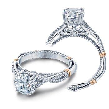 Verragio Parisian D-105 - 14k White and Rose Gold Diamond Engagement Ring by Verragio