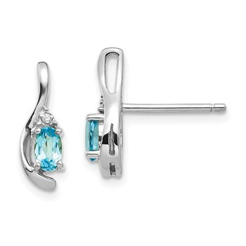 14k White Gold Oval Blue Topaz & Diamond Earrings
