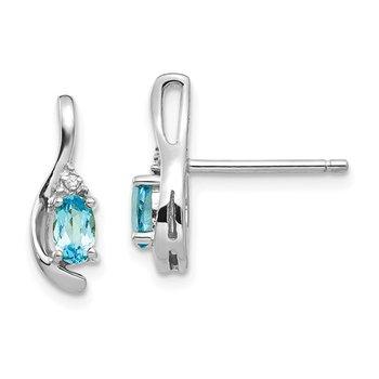 14k White Gold Oval Blue Topaz & Diamond Earrings