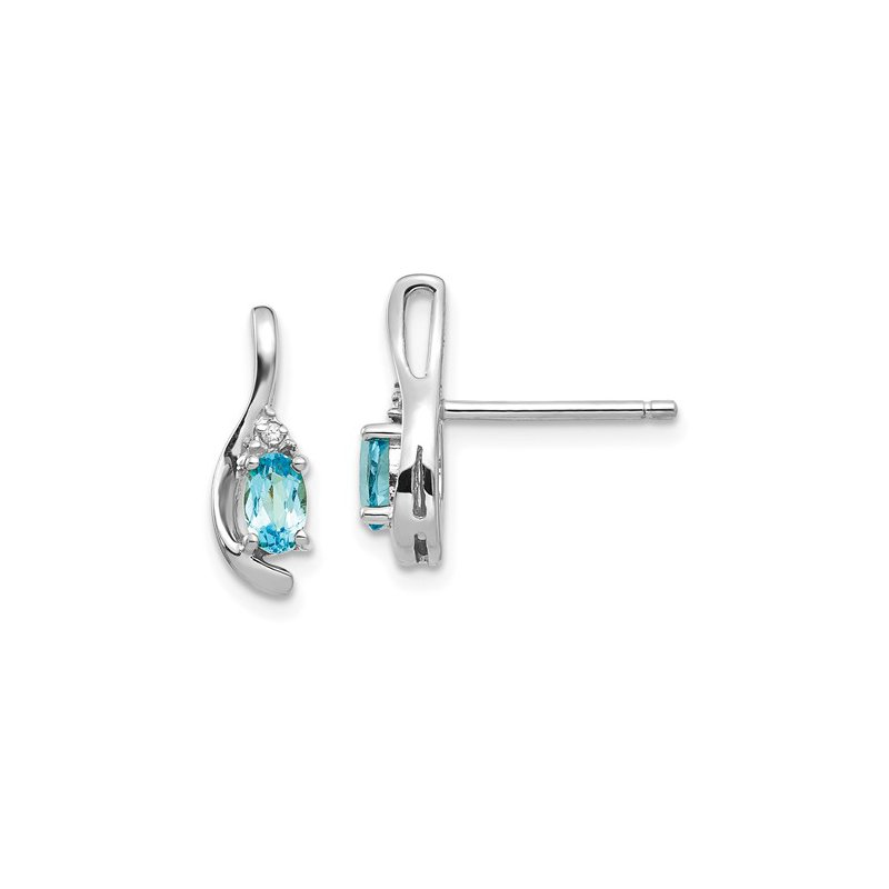 Signature Collection 14k White Gold Oval Blue Topaz & Diamond Earrings
