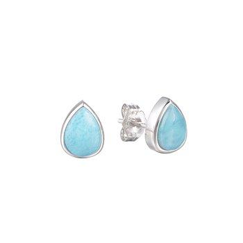 Sterling Silver 6mm Pear Larimar Stud Earrings