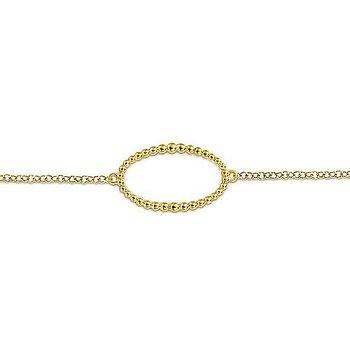 "14k Yellow Gold 7"" Beaded Oval Link Station Bracelet by Gabriel NY"