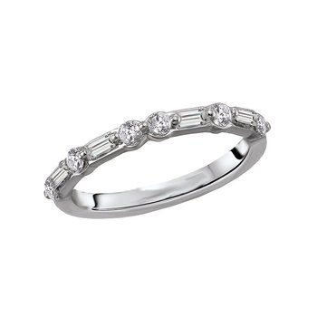 14k White Gold Baguette and Round Diamond Wedding Band