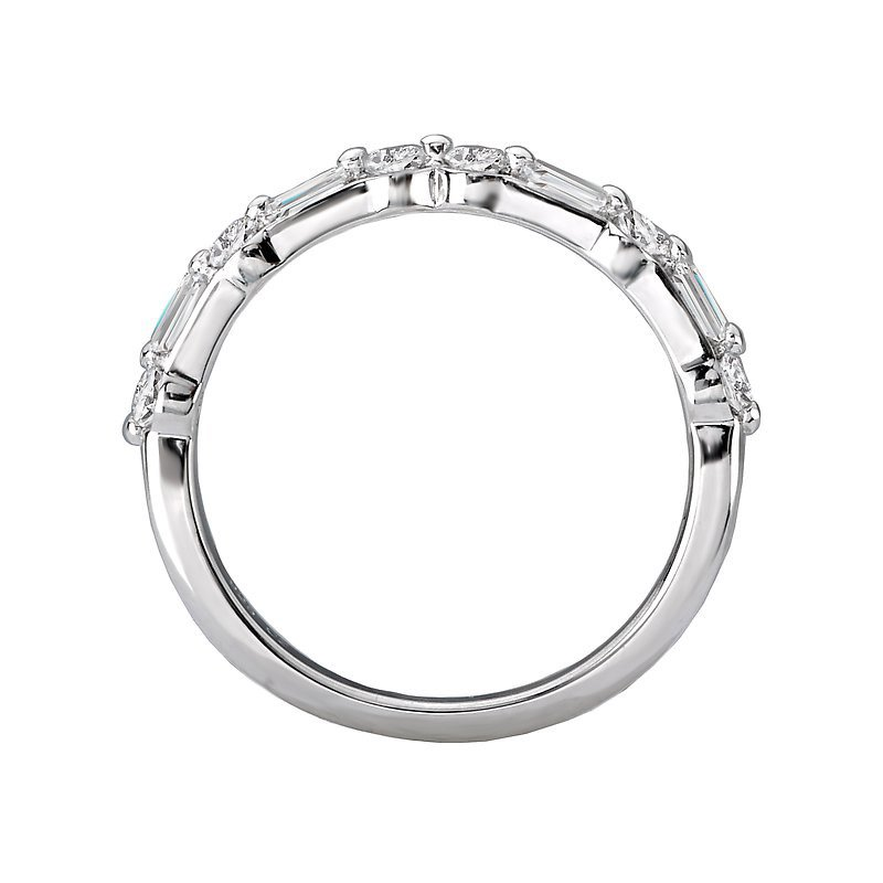 Signature Collection 14k White Gold Baguette and Round Diamond Wedding Band