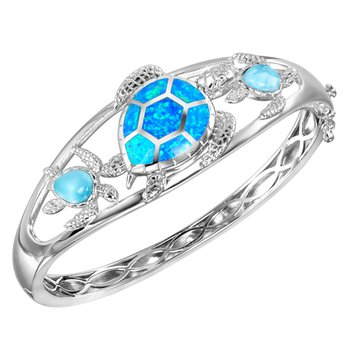 Alamea Larimar & Lab Created Opal Turtle Bangle Bracelet