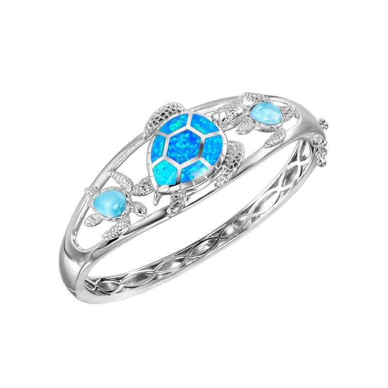 Alamea Larimar  Alamea Larimar & Lab Created Opal Turtle Bangle Bracelet
