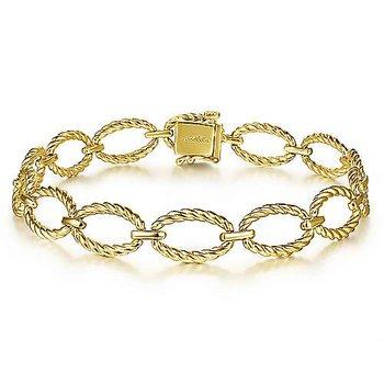 "14k Yellow Gold 7"" Oval Rope Link Bracelet by Gabriel NY"