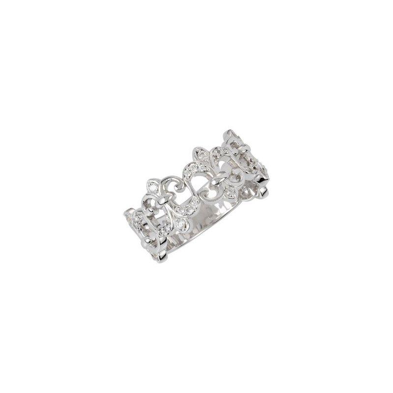 Signature Collection .25ct Diamond White Gold Fleur-de-Lis Ring