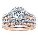 Gabriel NY Gabriel NY Amavida 18k Rose and White Gold Round Halo Diamond Engagement Ring