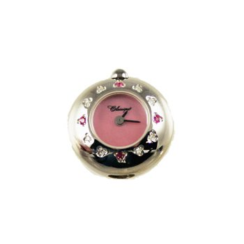 Sterling Silver Bead Watch with Pink Sapphire and Diamonds and Pink Mother of Pearl