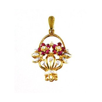 Genuine Ruby & Diamond Flower Basket Pendant in 18k Yellow Gold - 15392