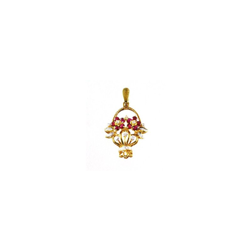 Signature Collection Genuine Ruby & Diamond Flower Basket Pendant in 18k Yellow Gold - 15392