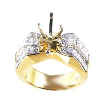 18k Yellow Gold Invisibly Set Princess Cut Diamond Mounting - #24949