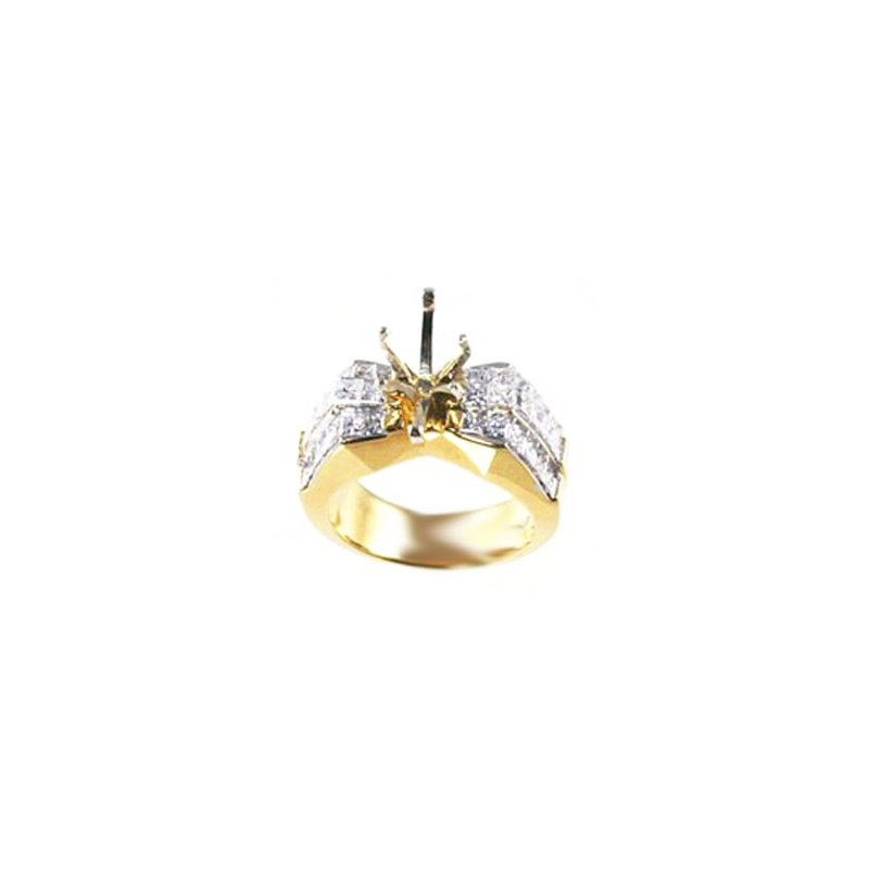 Signature Collection 18k Yellow Gold Invisibly Set Princess Cut Diamond Mounting - #24949