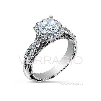 Verragio Venetian 5006CU - 18k White Gold Diamond Engagement Ring by Verragio