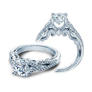 Verragio Insignia 7082R - 18k White Gold Twist Band Diamond Engagement Ring by Verragio