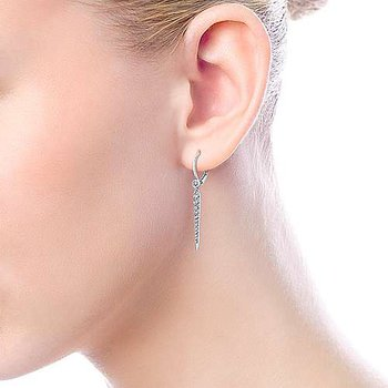 14k White Gold Peek-a-Boo Spike Diamond Earrings