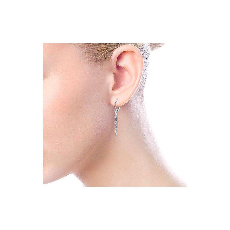 Signature Collection 14k White Gold Peek-a-Boo Spike Diamond Earrings