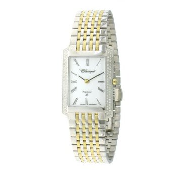 Classsique' Ladies Stainless Steel Gold Plate Diamond Set Watch - #28-126BD