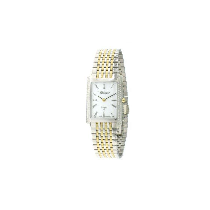 Swiss Watches Classsique' Ladies Stainless Steel Gold Plate Diamond Set Watch - #28-126BD