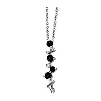 Genuine Blue Sapphire & Diamond Necklace - EL1526134