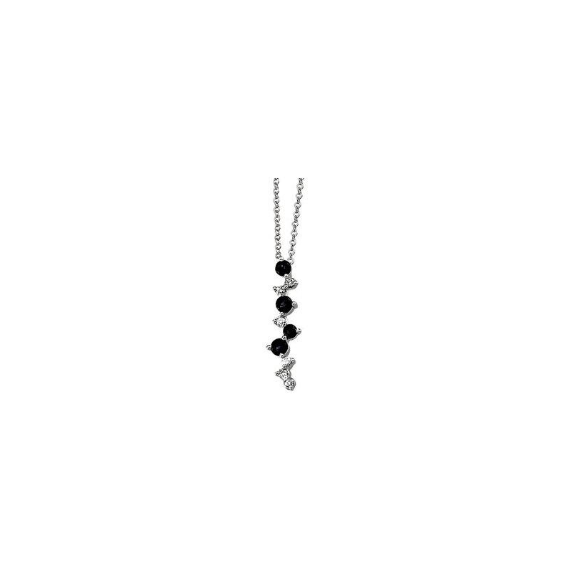 Signature Collection Genuine Blue Sapphire & Diamond Necklace - EL1526134