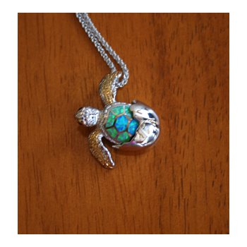Sterling Silver and 18k Gold Plated Turtle Pendant with Kyocera Lab Created Synthetic Opal