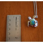 Kovel Sealife Sterling Silver and 18k Gold Plated Turtle Pendant with Kyocera Lab Created Synthetic Opal