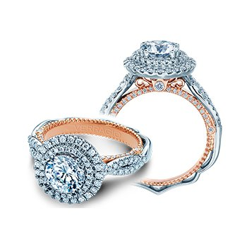 Verragio Venetian 5066 R-2WR - 18k White and Rose Gold Round Double Halo Engagement Ring